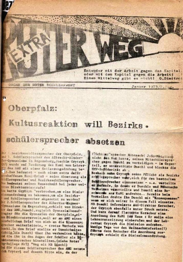 Roter Weg _ Organ der Roten Schülerfront, Extra, Jan. 1973, Seite 1