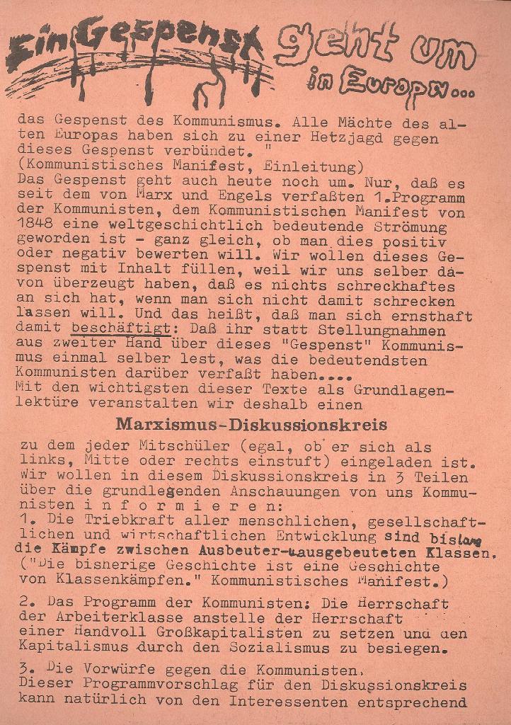 Roter Weg _ Organ der Roten Schülerfront, Beilage zur Nr. 9, München 1973, Seite 1