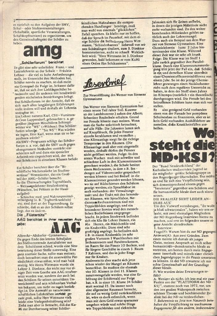 Roter Weg _ Organ der Roten Schülerfront, o. O., o. J., Beilage Regensburg, Seite 2