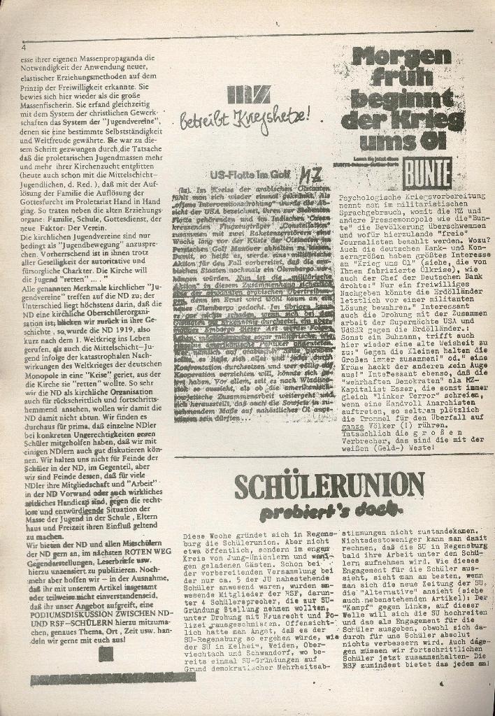 Roter Weg _ Organ der Roten Schülerfront, o. O., o. J., Beilage Regensburg, Seite 4