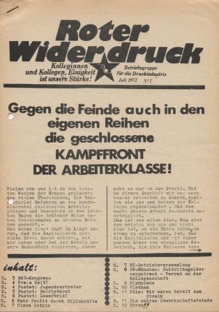 """""""Roter Widerdruck"""", Betriebszeitung der """"Betriebsgruppe für die Druckindustrie"""", Juli 1972, Nr. 7"""