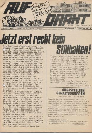"""""""Auf Draht (früher Arbeitersache)"""", herausgegeben von der Siemens_Betriebsgruppe, Nr. 1, Januar 1973"""