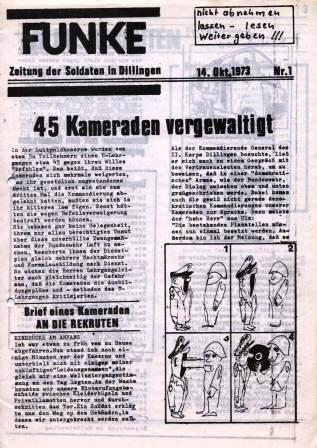 Funke. Zeitung der Soldaten in Dillingen, Nr. 1, 14.10.1973