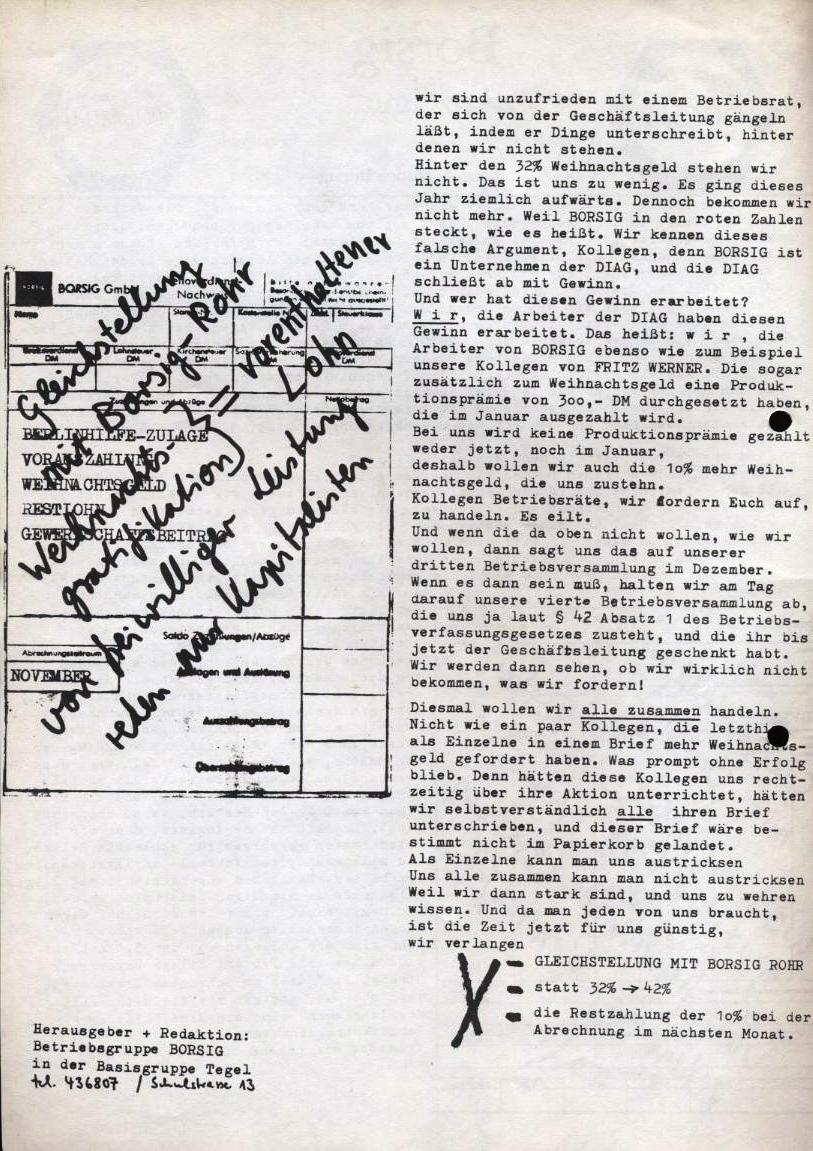 Borsig_Anzeiger, hrsg. von der Betriebsgruppe Borsig in der Basisgruppe Tegel, Extraausgabe, S. 2