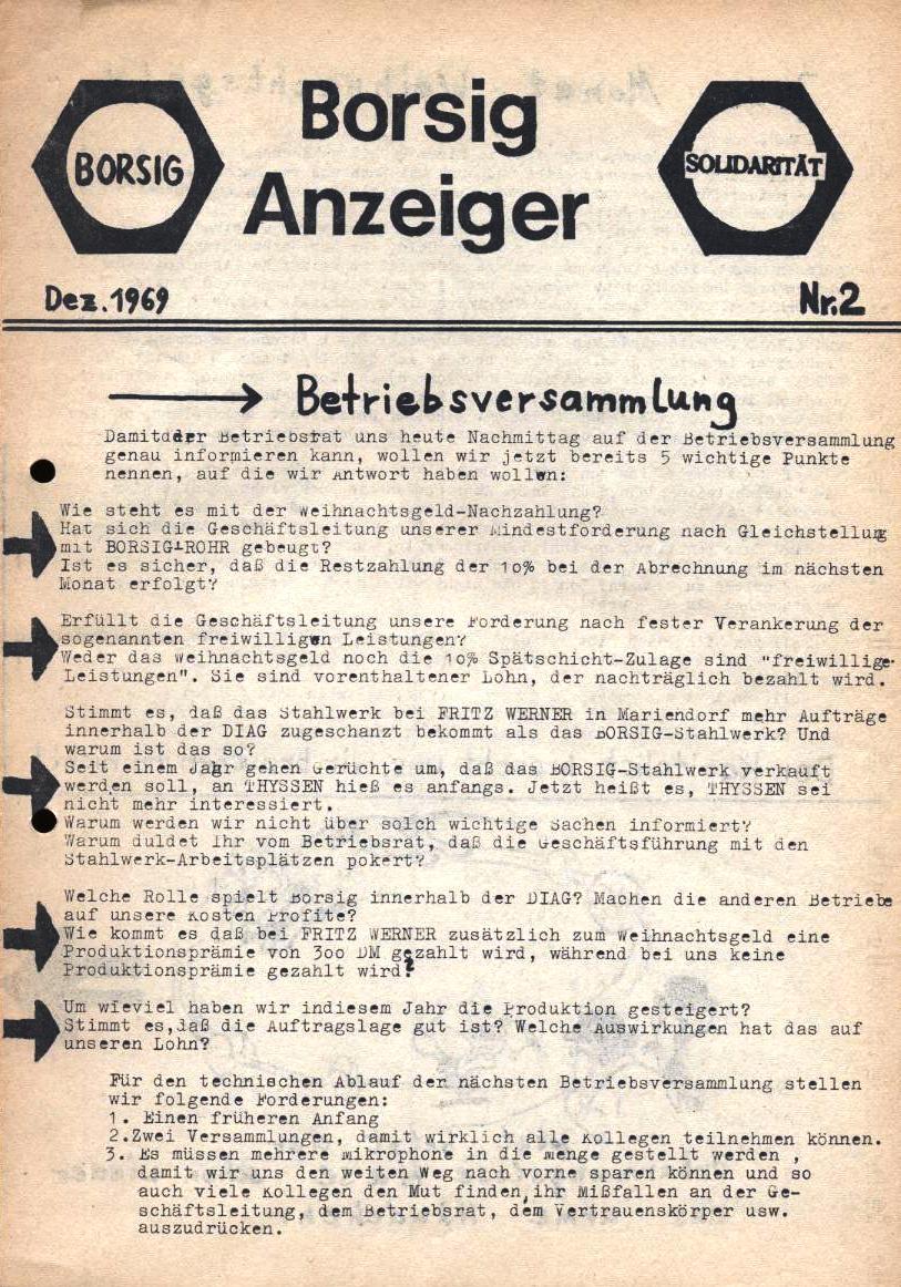 Borsig_Anzeiger, hrsg. von der Betriebsgruppe Borsig in der Basisgruppe Tegel, Nr. 2, November 1969, S. 1