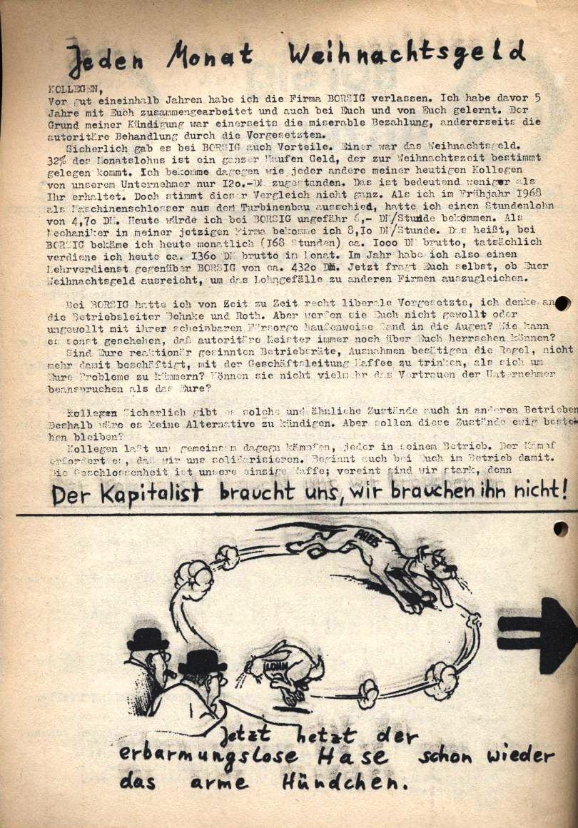 Borsig_Anzeiger, hrsg. von der Betriebsgruppe Borsig in der Basisgruppe Tegel, Nr. 2, November 1969, S. 2