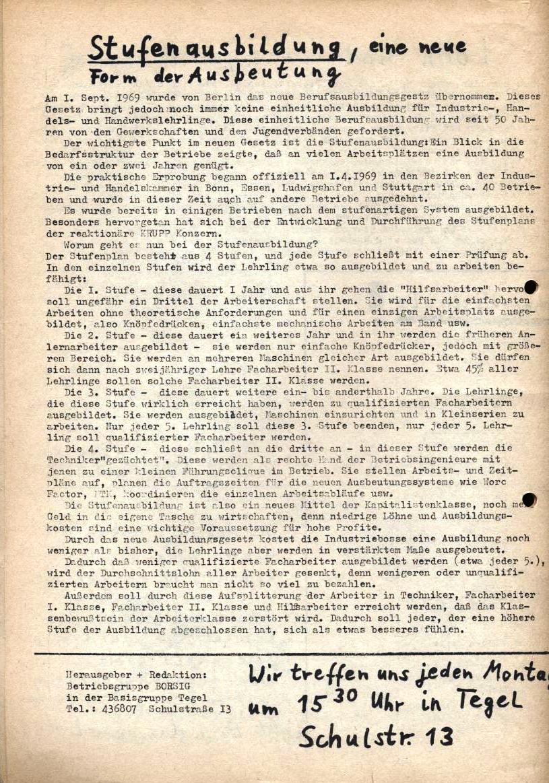 Borsig_Anzeiger, hrsg. von der Betriebsgruppe Borsig in der Basisgruppe Tegel, Nr. 2, November 1969, S. 4