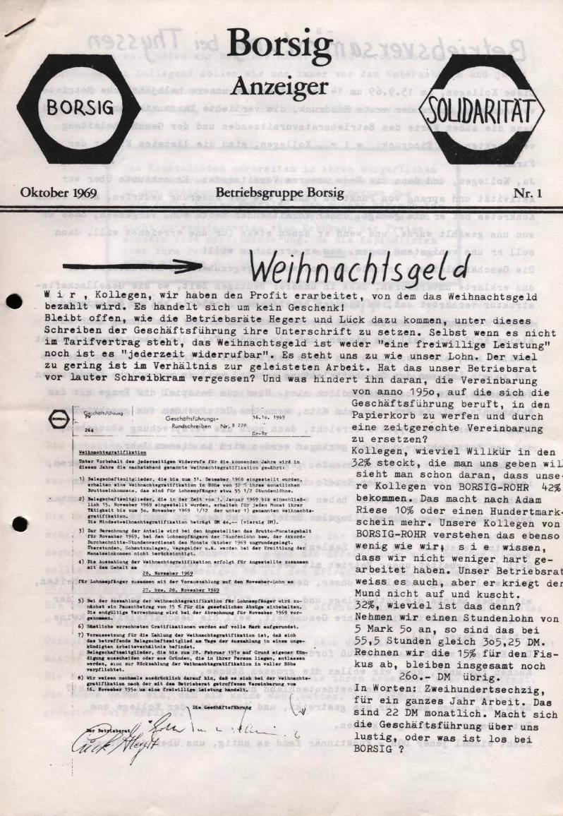 Borsig_Anzeiger, hrsg. von der Betriebsgruppe Borsig in der Basisgruppe Tegel, Nr. 1, Oktober 1969, S. 1
