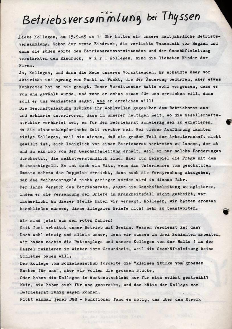 Borsig_Anzeiger, hrsg. von der Betriebsgruppe Borsig in der Basisgruppe Tegel, Nr. 1, Oktober 1969, S. 2