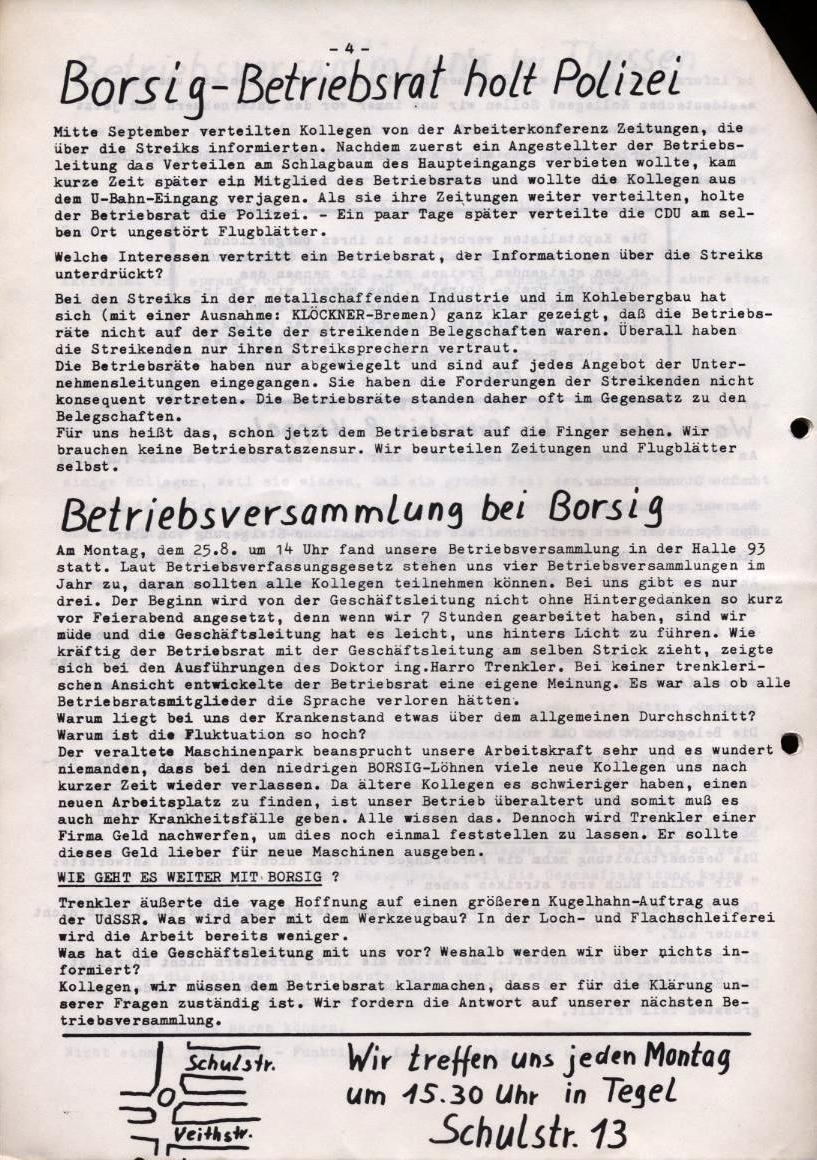 Borsig_Anzeiger, hrsg. von der Betriebsgruppe Borsig in der Basisgruppe Tegel, Nr. 1, Oktober 1969, S. 4