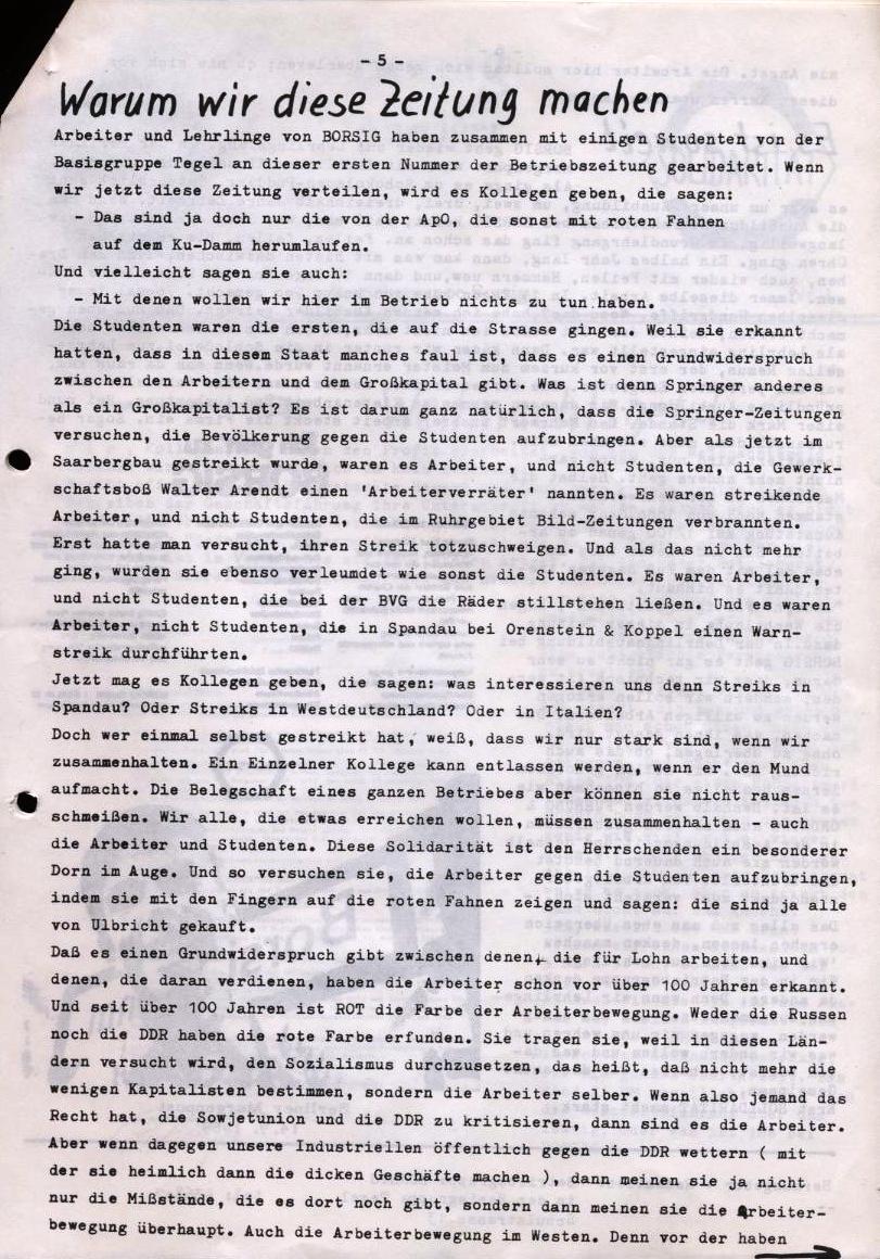 Borsig_Anzeiger, hrsg. von der Betriebsgruppe Borsig in der Basisgruppe Tegel, Nr. 1, Oktober 1969, S. 5