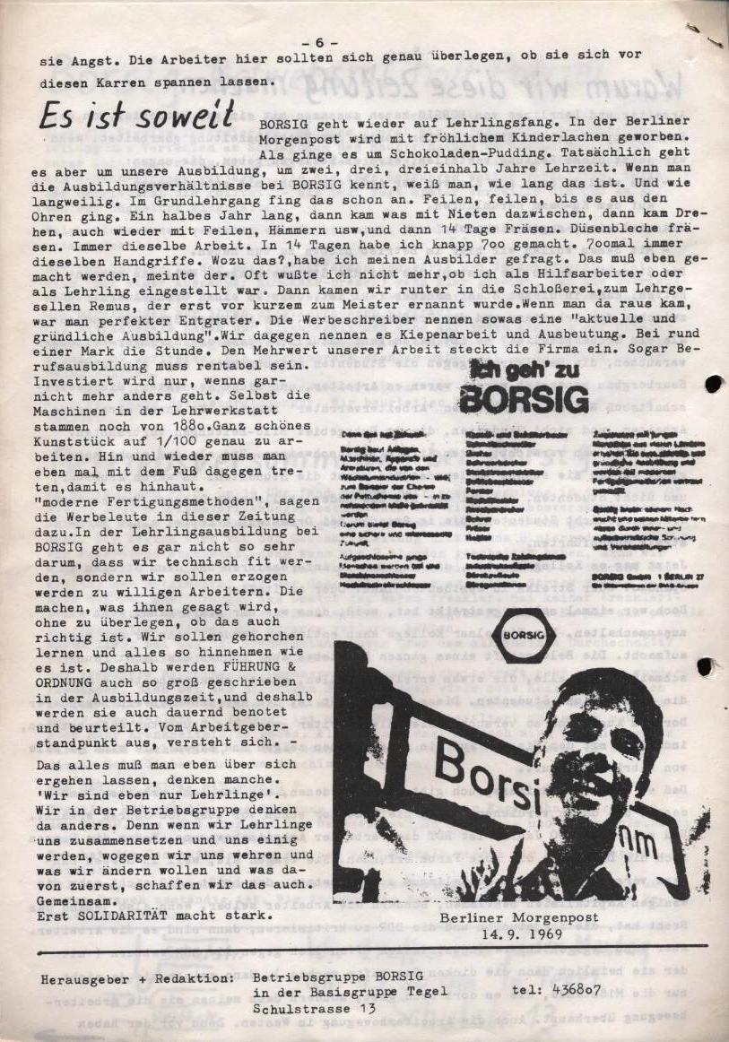 Borsig_Anzeiger, hrsg. von der Betriebsgruppe Borsig in der Basisgruppe Tegel, Nr. 1, Oktober 1969, S. 6