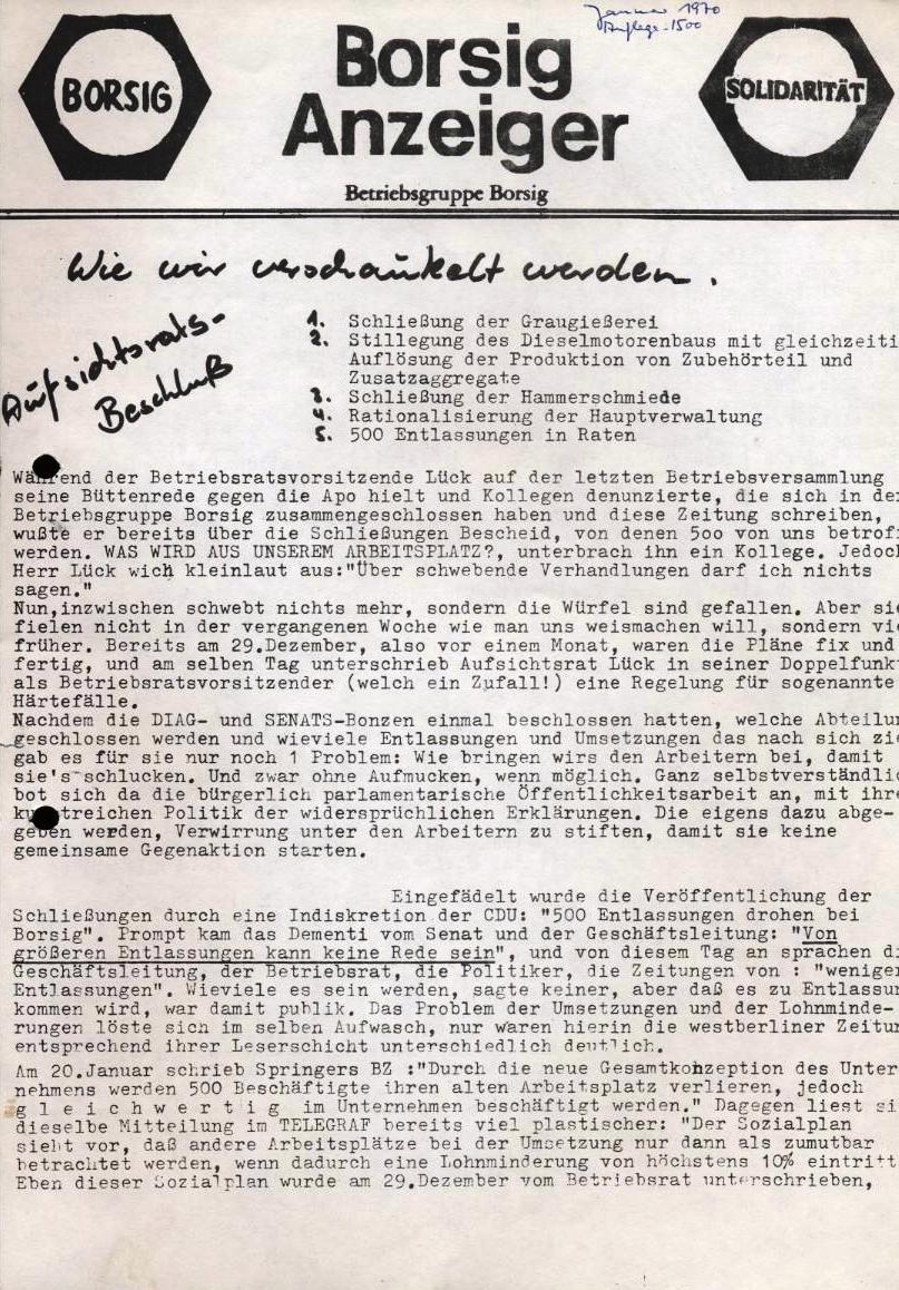 Borsig_Anzeiger, hrsg. von der Betriebsgruppe Borsig in der Basisgruppe Tegel, Januar 1970, S. 1
