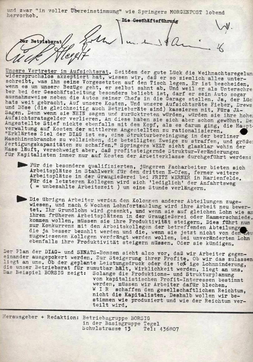 Borsig_Anzeiger, hrsg. von der Betriebsgruppe Borsig in der Basisgruppe Tegel, Januar 1970, S. 2
