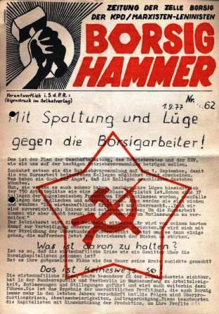 Borsig_Hammer, Zeitung der Zelle Borsig der KPD/ML, Nr. 62, 1.9.1977