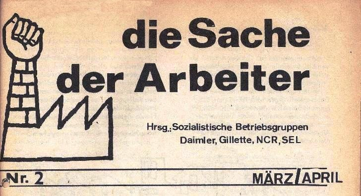 Ausschnitt aus: Die Sache der Arbeiter, Nr. 2, M�rz/April 1970, Seite 1