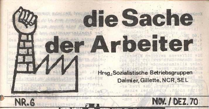 Titelseite: Die Sache der Arbeiter, Nr. 6, Nov./Dez. 1970 (Ausschnitt)