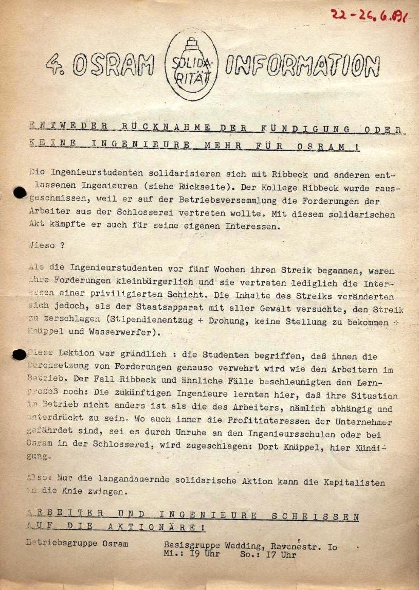 4. OSRAM_Information, hrsg. von der Betriebsgruppe Osram der Basisgruppe Wedding (vermutlich zwischen 22. und 26.6.1969)