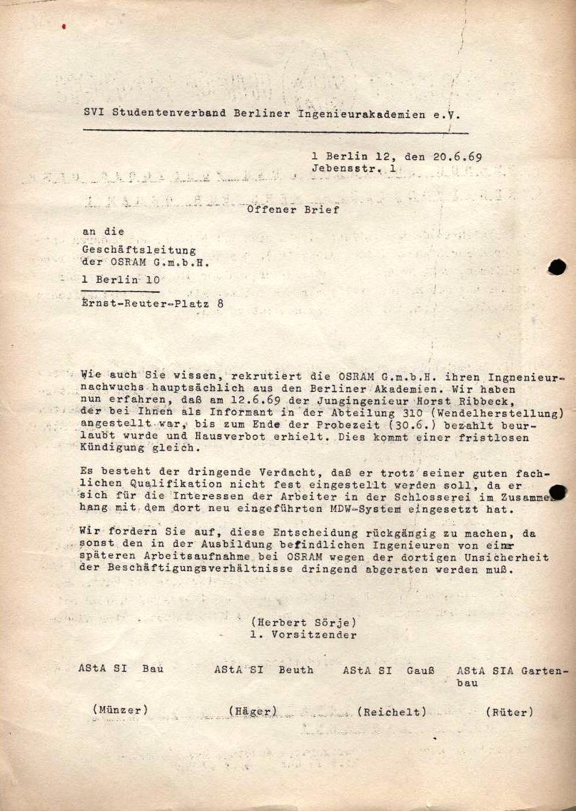 Offener Brief des SVI an die OSRAM_Geschäftsleitung, 20.6.1969