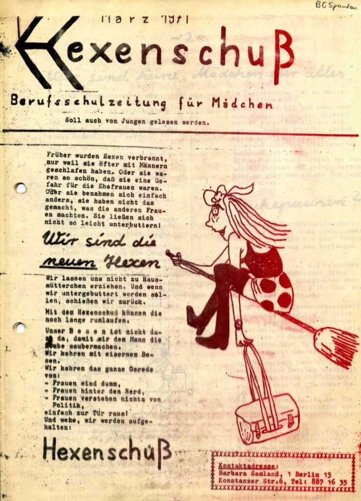 Hexenschuß _ Berufsschulzeitung für Mädchen, März 1971, Seite 1