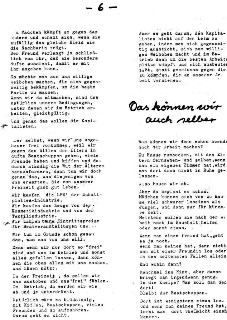 Hexenschuß _ Berufsschulzeitung für Mädchen, März 1971, Seite 6
