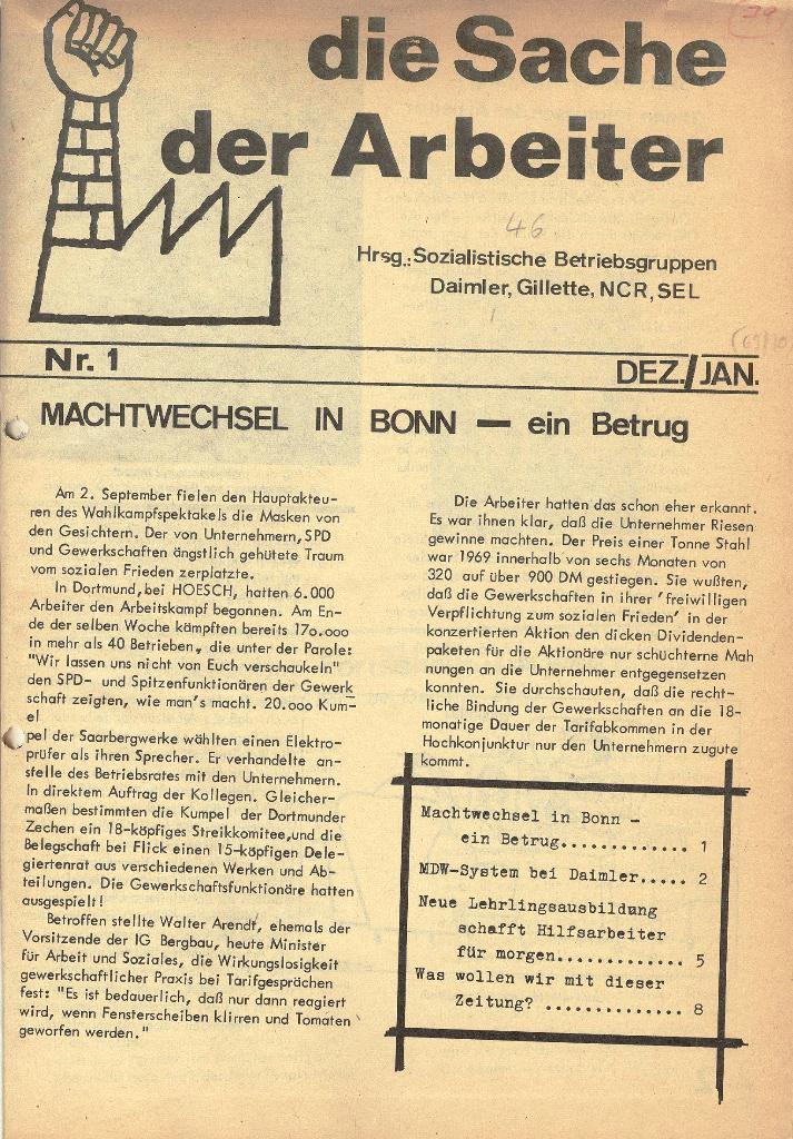 Die Sache der Arbeiter, Nr. 1, Dez./Jan. 1969/70, Seite 1