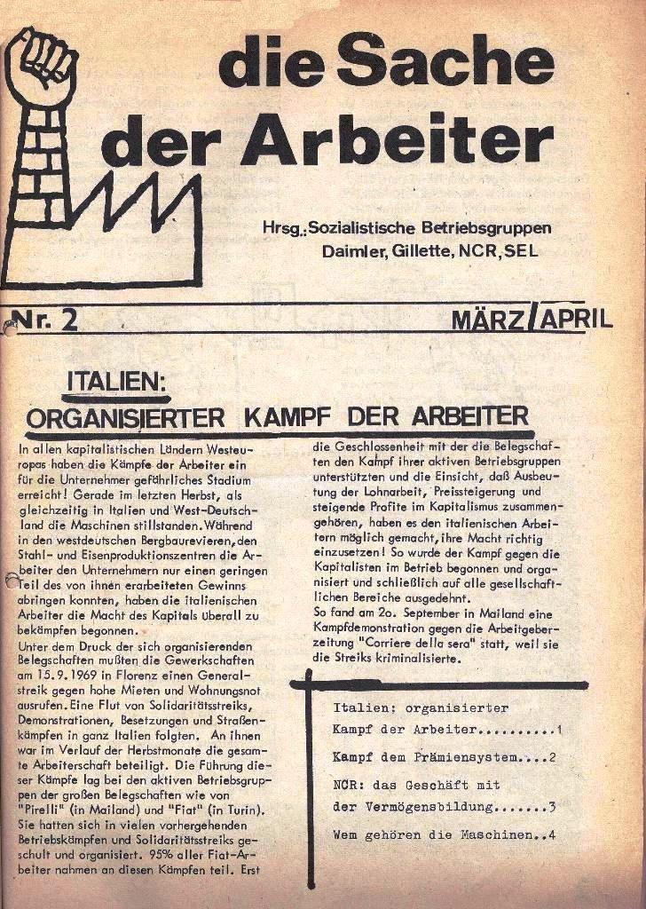 Die Sache der Arbeiter, Nr. 2, M�rz/April 1970, Seite 1