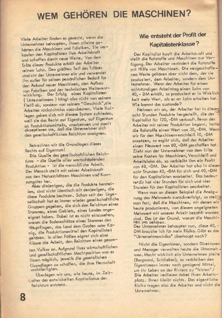 Die Sache der Arbeiter, Nr. 2, März/April 1970, Seite 8