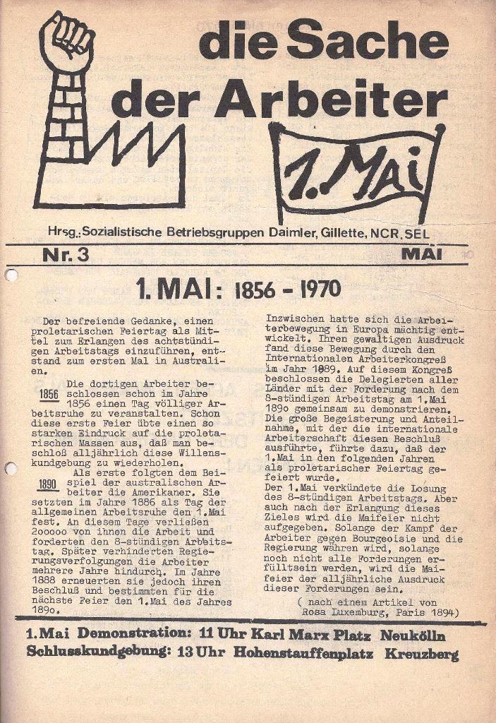 Die Sache der Arbeiter, Nr. 3, Mai 1970, Seite 1