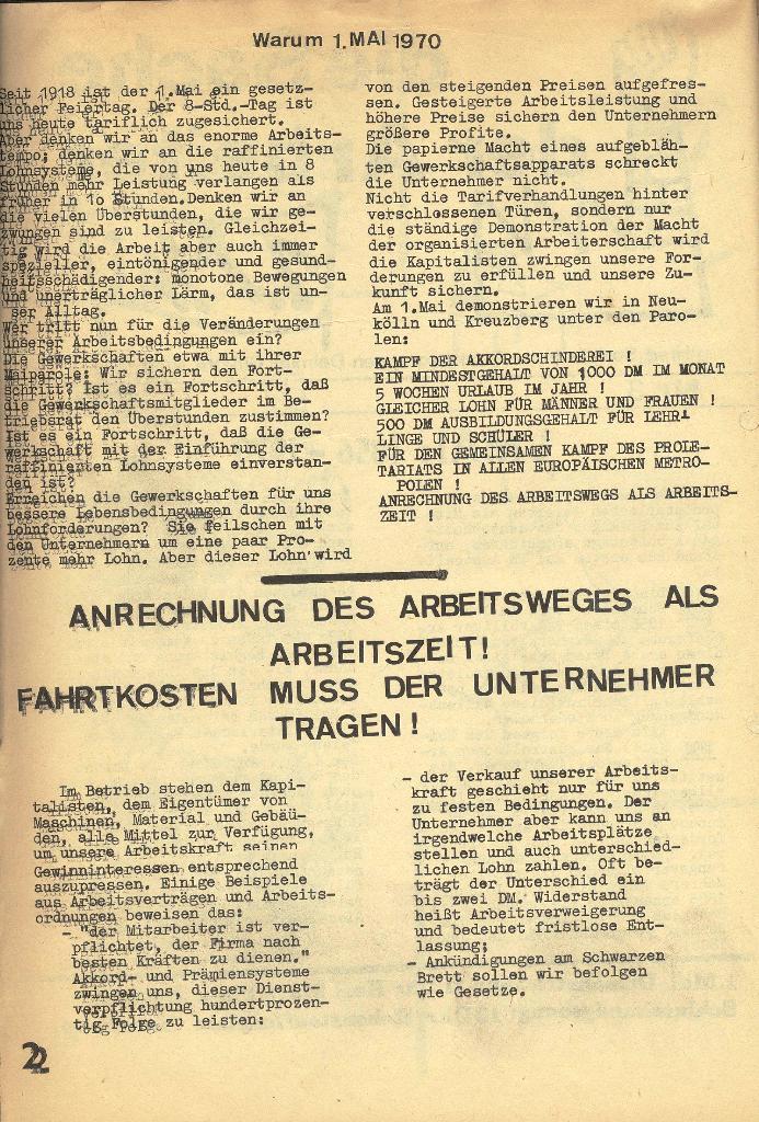 Die Sache der Arbeiter, Nr. 3, Mai 1970, Seite 2