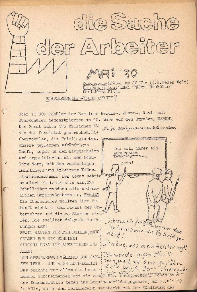 Die Sache der Arbeiter, Schülerstreik – Unser Streik, 1970, Seite 1