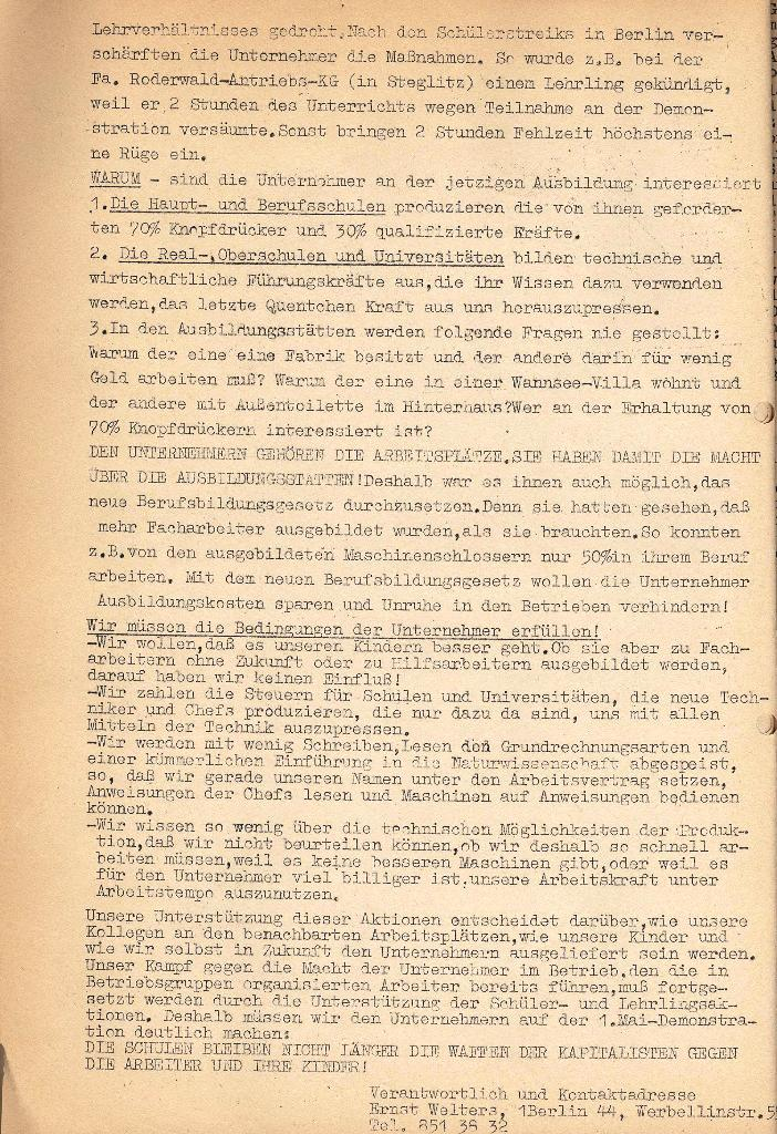 Die Sache der Arbeiter, Sch�lerstreik � Unser Streik, 1970, Seite 2