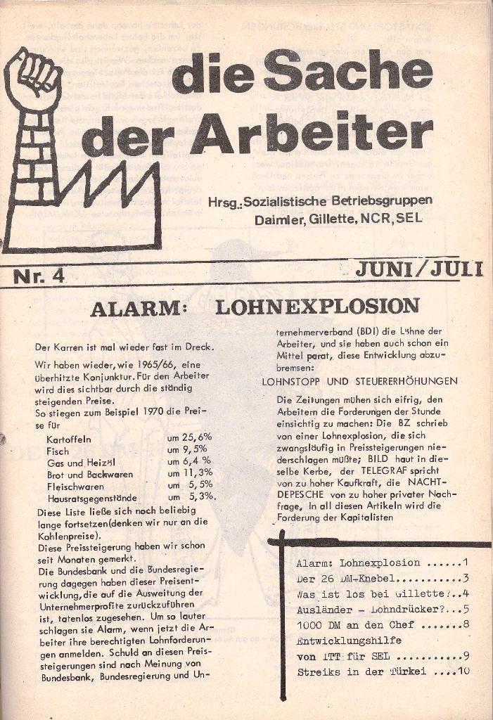 Die Sache der Arbeiter, Nr. 4, Juni/Juli 1970, Seite 1