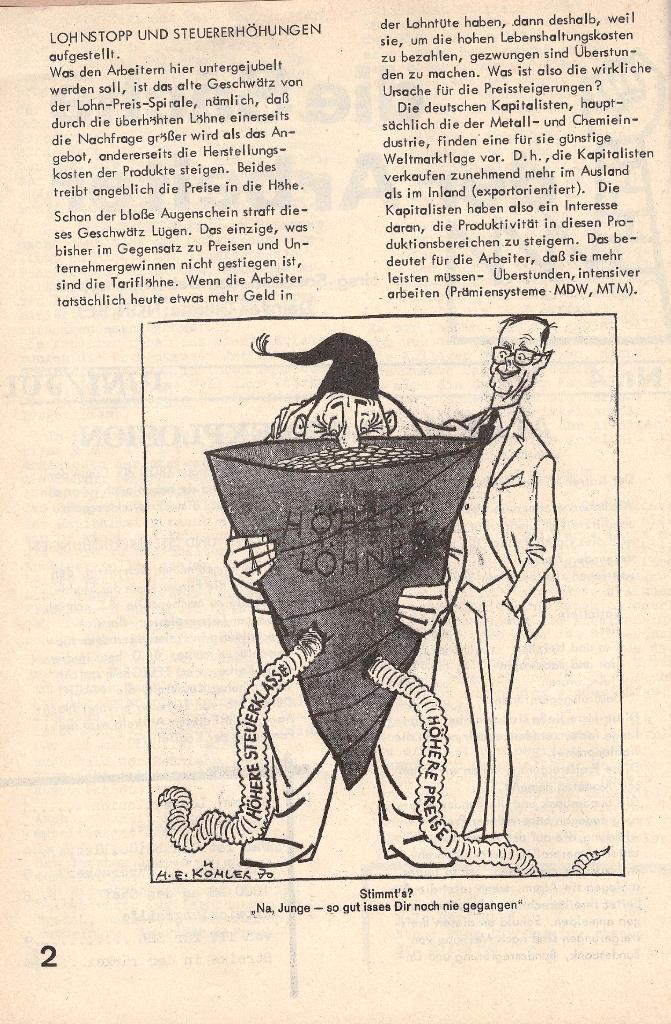Die Sache der Arbeiter, Nr. 4, Juni/Juli 1970, Seite 2