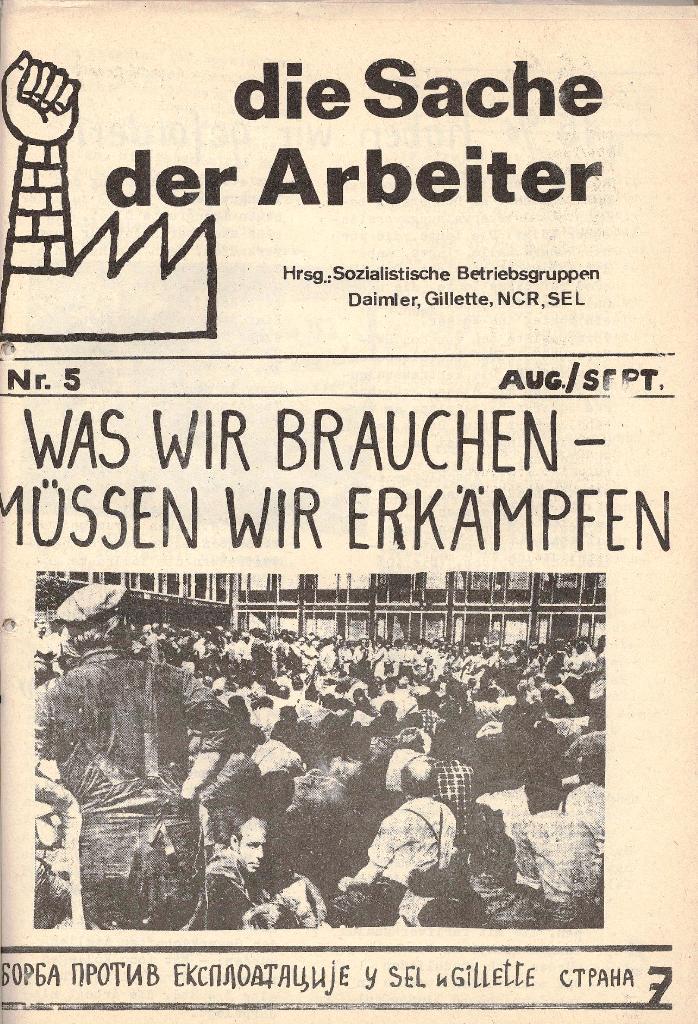 Die Sache der Arbeiter, Nr. 5, Aug./Sept. 1970, Seite 1