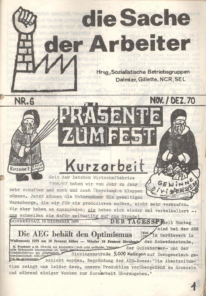 Die Sache der Arbeiter, Nr. 6, Nov./Dez. 1970, Seite 1