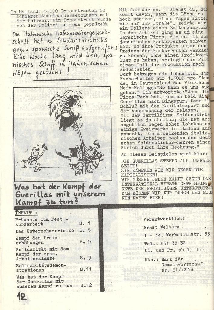 Die Sache der Arbeiter, Nr. 6, Nov./Dez. 1970, Seite 12