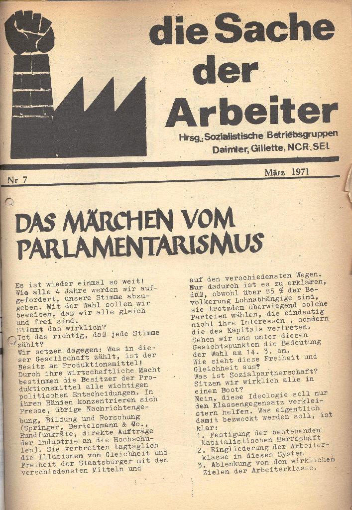 Die Sache der Arbeiter, Nr. 7, März 1971, Seite 1