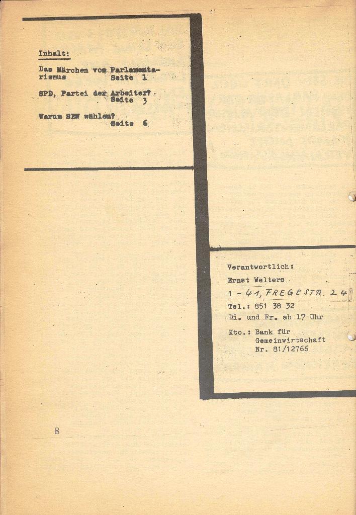 Die Sache der Arbeiter, Nr. 7, März 1971, Seite 8