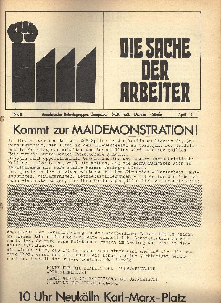 Die Sache der Arbeiter, Nr. 8, April 1971, Seite 1