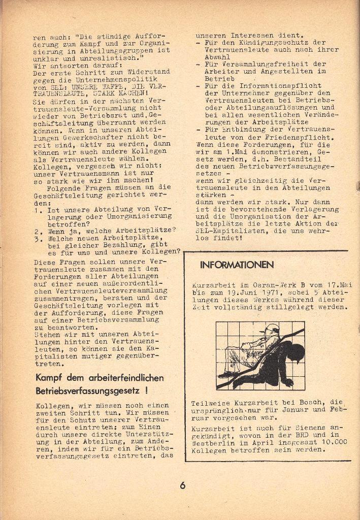Die Sache der Arbeiter, Nr. 8, April 1971, Seite 6