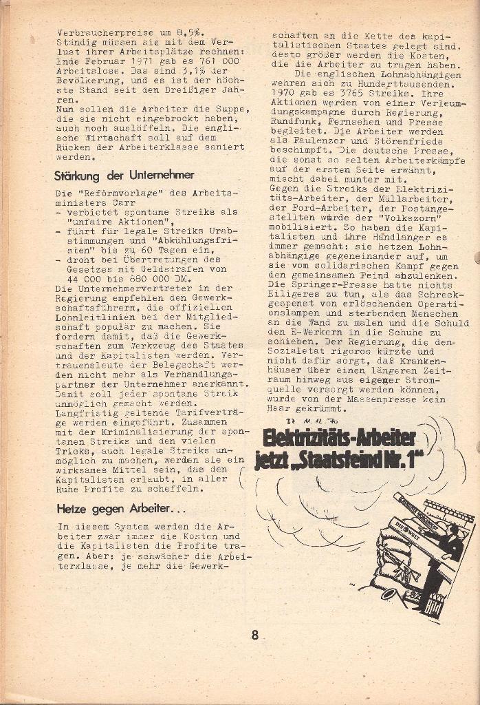 Die Sache der Arbeiter, Nr. 8, April 1971, Seite 8