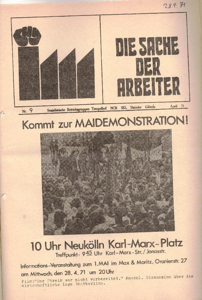 Die Sache der Arbeiter, Nr. 9, April 1971, Seite 1