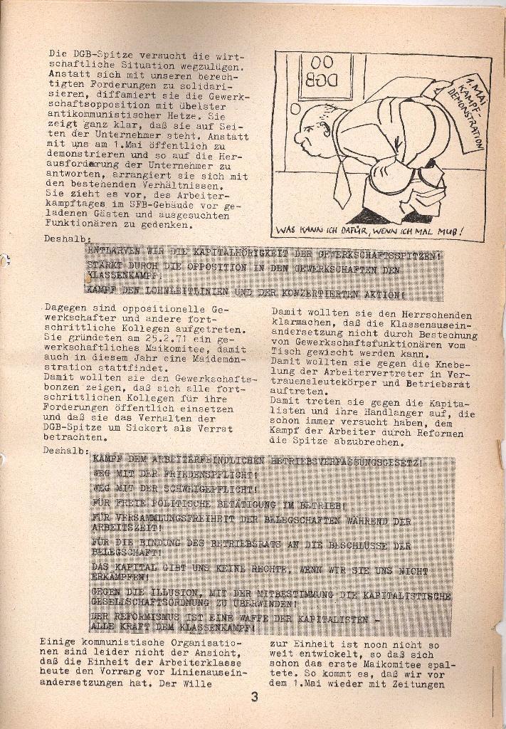 Die Sache der Arbeiter, Nr. 9, April 1971, Seite 3