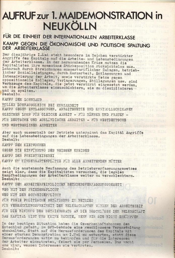 Aufruf zur 1. Mai_Demonstration in Neukölln (1971), Seite 1