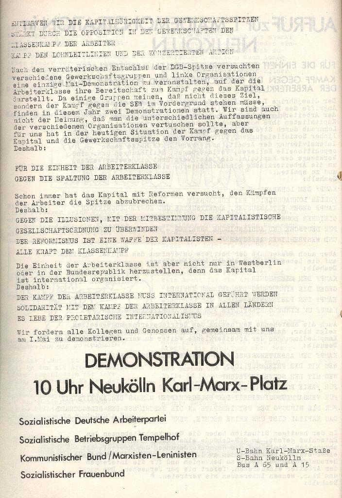 Aufruf zur 1. Mai_Demonstration in Neukölln (1971), Seite 2