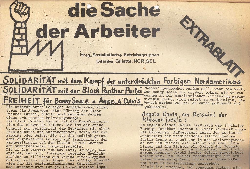 Die Sache der Arbeiter, Extrablatt, 1971, Seite 1 oben