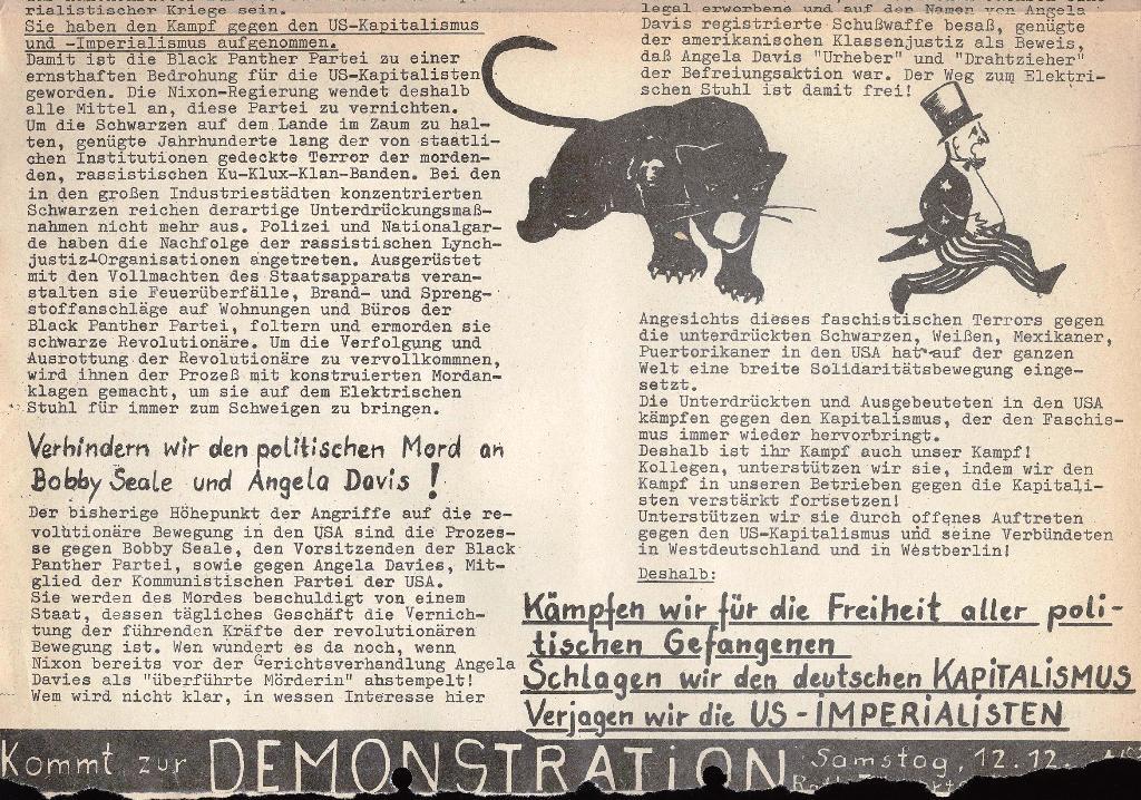 Die Sache der Arbeiter, Extrablatt, 1971, Seite 1 unten