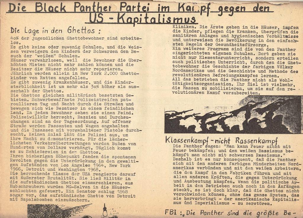 Die Sache der Arbeiter, Extrablatt, 1971, Seite 2 oben