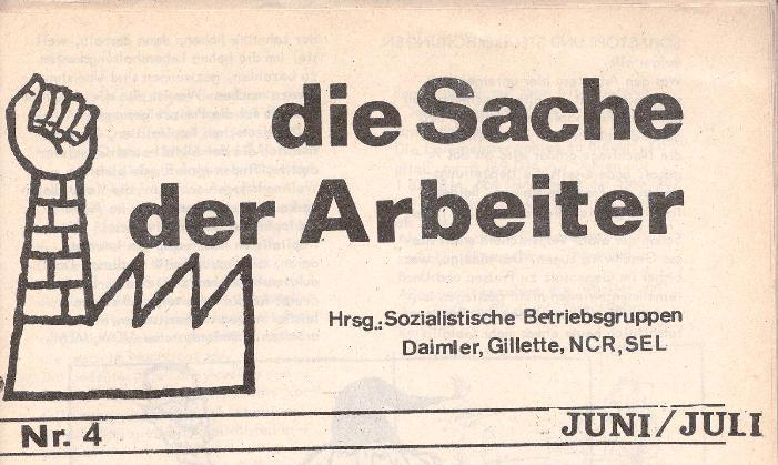 Ausschnitt aus: Die Sache der Arbeiter, Nr. 4, Juni/Juli 1970, Seite 1
